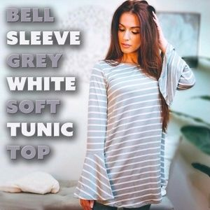 Tunic Grey~White Soft Top with Bell Sleeves